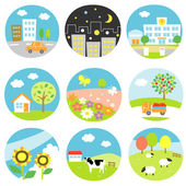 Scenic icons — Stock Vector