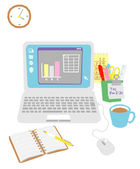 Computer on the office desk — Stock Vector