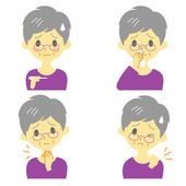 Disease Symptoms 02, fever, sore throat,dripping nose, stiff neck, expressions, old woman — Stock Vector