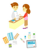 Pharmacist's office and patient, medical supplies — Stock Vector