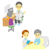 See a doctor and in hospital, old woman — Stock Vector