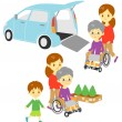 Old woman in wheelchair, Adapted Vehicle, family — Stock Vector