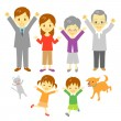 Joyful family — Stock Vector