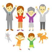 Joyful family — Stock Vector