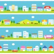 Stores and houses on street — Stock Vector #28289147