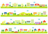 Stores and houses on a street, white background — Stock Vector