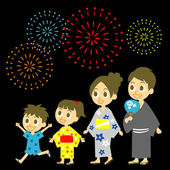 Fireworks display in Japan, Family in yukata, kimono for summer — Stock Vector