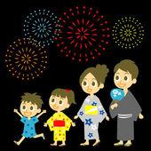 Fireworks display in Japan, Family in yukata, kimono for summer — Stock Vector