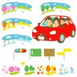 FAMILY in a car, driving, four seasons — Stock Vector