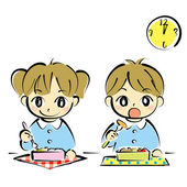 Kids at lunchtime — Stock Vector