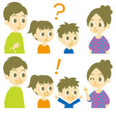 Family, question and answer — Stock Vector