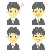 Young man in suit, expressions — Stock Vector