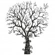 Black tree on the white background - Stock Vector