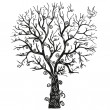 Black tree on the white background - Imagen vectorial
