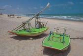 Rafts on Canoa Quebrada Beach — Stock Photo