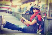 Woman (vintage effect) — Stock Photo