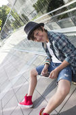 Young boy with skateboard — Stock Photo
