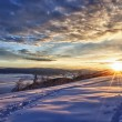 Majestic sunset in the winter mountains landscape — Photo