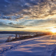 Majestic sunset in the winter mountains landscape — Foto de Stock