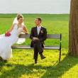 The couple sitting on a bench in the park — Stock Photo