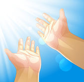 Hands outstretched to the sun — Stock Vector