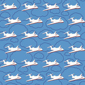 Vector seamless background with airplanes — Stock Photo