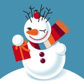 Vector illustration of a snowman — Zdjęcie stockowe