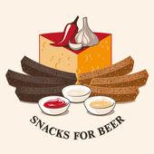 Vector image of beer snacks — Stock Vector