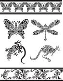 Animal ornaments (butterfly, dragonfly, gecko, kangaroo) — Stock Vector