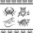 Animal ornaments (crab, owl, etc) — Vector de stock