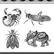 Animal ornaments (scorpion, elephant, etc) — Stock Vector