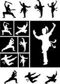 Kungfu silhouette vectors — Stock Vector