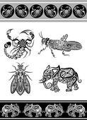 Zwierząt ozdoby (skorpion, słoń, itp) — Wektor stockowy