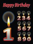 Geburtstag kerze vektoren — Stockvektor