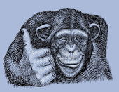Chimpanzee drawing vector — Vector de stock