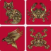 Golden animal ornaments (cat, crab, bird, frog) — Stock Vector