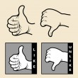 Hand signs 1. like, unlike — Stock Vector