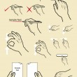Vintage hand signs drawing vector. write, read and touch screen activity — Stock Vector