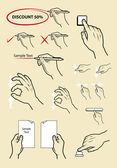 Vintage hand signs drawing vector. write, read and touch screen activity — Stok Vektör