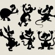 Thumb up cartoon animals silhouette set 1 — Imagen vectorial