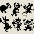 Thumb up cartoon animals silhouette set 1 — Image vectorielle