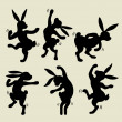 Dancing rabbit silhouette vector — Stock Vector