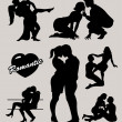 Romantic love couple silhouette 2 icon — Stock Vector
