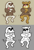 Dog and bear dancing gangnam style vector — Cтоковый вектор