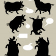 Pig Dancing Silhouettes — Stock Vector #21263887