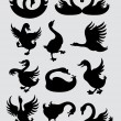 Duck and Swan Silhouette Symbols — Stock Vector