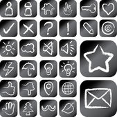 Chalk on Board Drawing Style Icons — Stock Vector