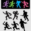 Running Silhouettes 2 - Stock Vector