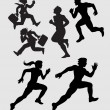 Running Silhouettes 1 — Stock Vector