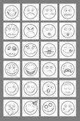 Clean Emoticon Icons — Stock Vector